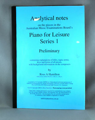 Piano For Leisure Series 1 Analytical Notes Preliminary Grade by Ross A.Hamilton