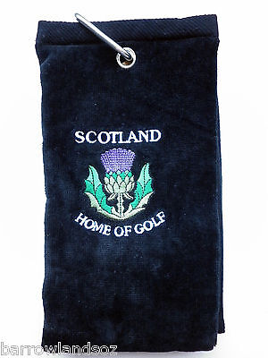 SCOTLAND Thistle Golf Towel (Black w/Crest) - Great Scottish Gift or Souvenir
