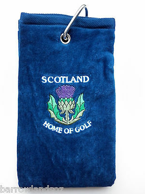 SCOTLAND Thistle Golf Towel (Blue w/Crest) - Great Scottish Gift or Souvenir