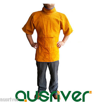 Short Sleeves Leather Welding Coat Apron with Pocket Protective Clothing Welder