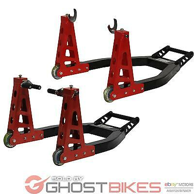 Black Pro Range Motorcycle Heavy Duty Aluminium Front And Rear Paddock Stand