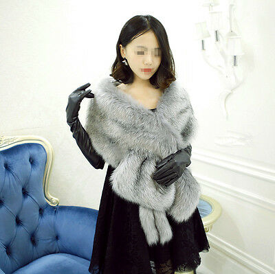 Grey Bridal Wedding Shrug Scarf Faux Fur Shawl Stole Wrap Cape Long Warm Elegant