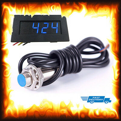 Blue LED 12V 4 Digital Tachometer RPM Speed Meter + Proximity Switch Sensor NPN