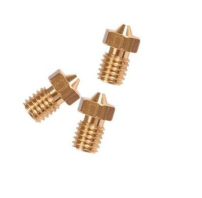 5 pcs 0.4mm Copper Extruder Nozzle M6 for 1.75mm Consumable ck
