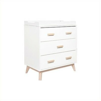 Babyletto Scoot 3-Drawer Changer Dresser in White and Natural