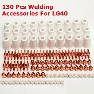 130pcs Air Plasma Cutting Cutter Torch Consumables Kits Nozzles Tips Shield Cups
