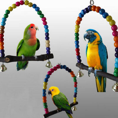 Colorful Wood Swing Bird Toy Parrot Cage Toys Finch Parakeet Cockatiel Budgie