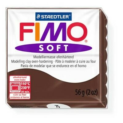 Staedtler Fimo Soft Chocolate (75) Oven Bake Modelling Clay Moulding Block 56g