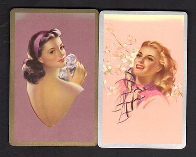 Vintage Swap/Playing Cards - Elegant Ladies Pair  (Gold & Silver Borders)