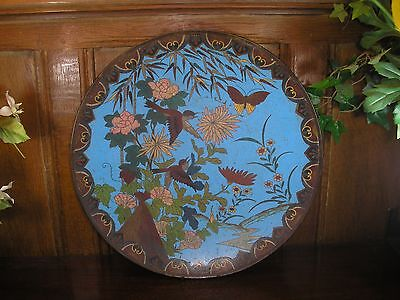 ANTIQUE Japanese CLOISONNE MEIJI very large FLORAL/BIRD CHARGER - 14.25""