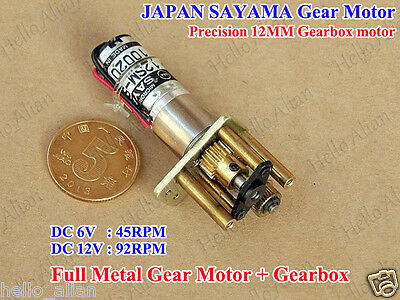 SAYAMA DC 5V 6V 12V Mini 12MM Precision Metal Gearbox Reduction Gear Motor Robot