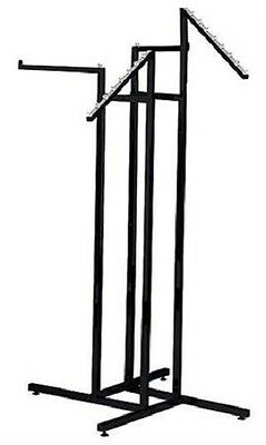 Clothing Rack 4 Way Slant Straight Arms Black Clothes Adjustable Garment Retail