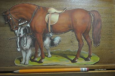Victorian Die Cut Roan Saddle Horse With Dog Mascot Holding Reins
