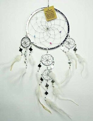 Large Metallic Silver Dream Catcher With Mirror's