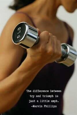 Woman Lifting Weight MOTIVATIONAL POSTER with Quote 24X36 Inspires FITNESS