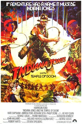MOVIE POSTER INDIANA JONES and the TEMPLE of DOOM action adventure 24X36 -VW0