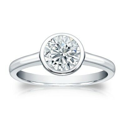 3 Ct Round Cut Solitaire Bezel Engagement Wedding Ring Solid Real 14K White Gold