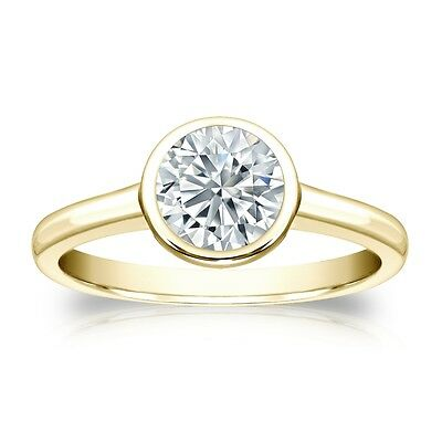 3 Ct Round Cut Solitaire Bezel Engagement Wedding Ring Solid 14K Yellow Gold
