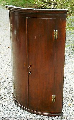 Curved Front English Corner Cupboard with inlaid molded top 1780