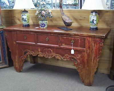 Chinese sideboard in original red paint c1800