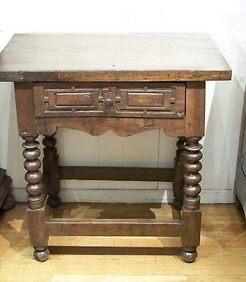 Small Spanish 17th century side table with drawer