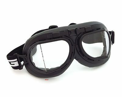 Vintage Aviator Style Split Lens Motorcycle Scooter Goggles - Black - Clear Lens