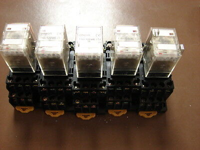 Relay, Omron MY4N-D2, 110/120VAC, with Bases, 5 ea.