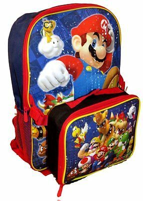 Nintendo Super Mario Large School  Backpack  Bag with Lunch box  New 16 ""