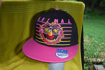 """Brand New W/tag-The Muppets """"animal"""" """"neon"""" Look Baseball Cap/hat! Snapback Back"""