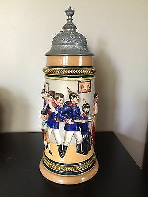 1L Hanke Beer Stein - Military Theme - Excellent Detail!