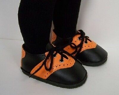 HALLOWEEN BLACK & ORANGE Saddle Oxfords Doll Shoes For Chatty Cathy (Debs)