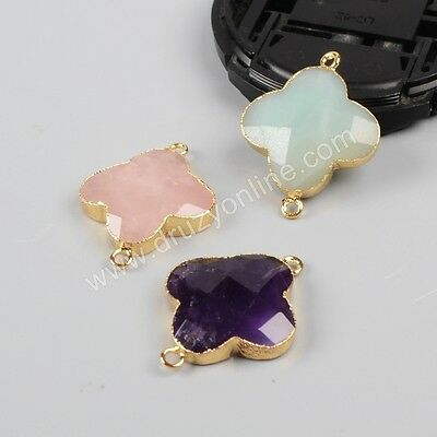 Similar 1Pcs Gold Plated Clover Multi-Kind Faceted Stones Connector AG0945