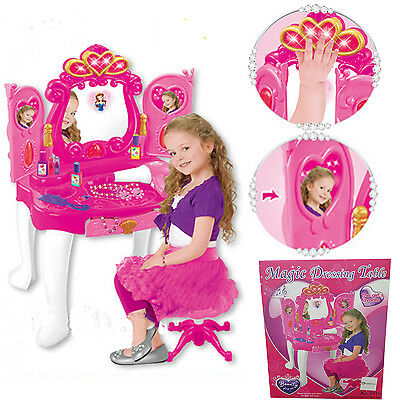 Kids Girls Magic Glamour Dressing Table W/ Stool Mirror Set Xmas Gift Toys