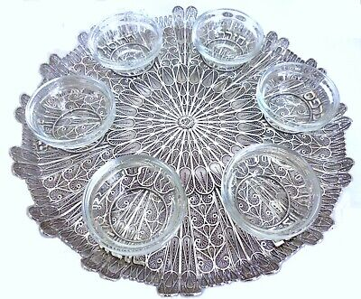 Sterling Silver Filigree Passover Pesach Seder Plate Tray Yemenite Judaica Art