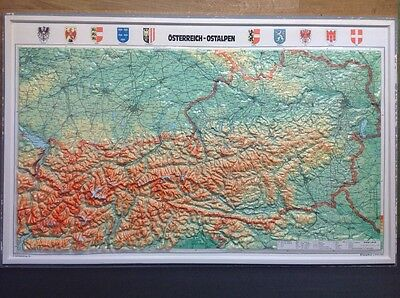 Vintage 3D Raised Relief Map Of Austrian Alps Retro Large Plastic Wall Map