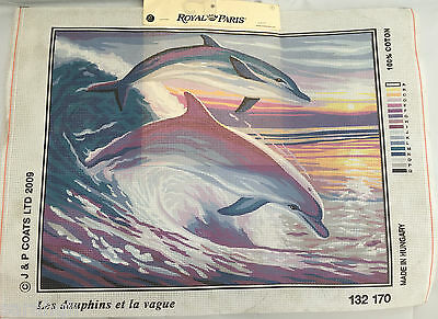 Dolphins Tapestry Needlepoint Canvas Royal Paris 37 x 47.5 cm  finished size