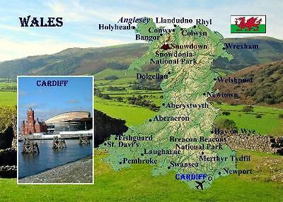 Wales Country Map New Postcard