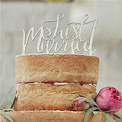 Ginger Ray Boho Rustic Just Married Wooden Cake Topper Wedding