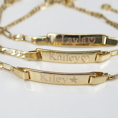 "Personalized Baby ID Bracelet 18K Gold GF 6"" Engraved Free Baby Shower Gift"