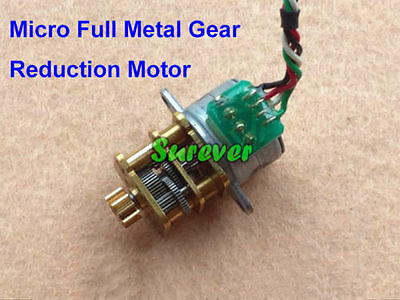 DC 5V 12V 2-Phase 4-Wire Micro 15mm Mini Precision Full Metal Gear Stepper Motor