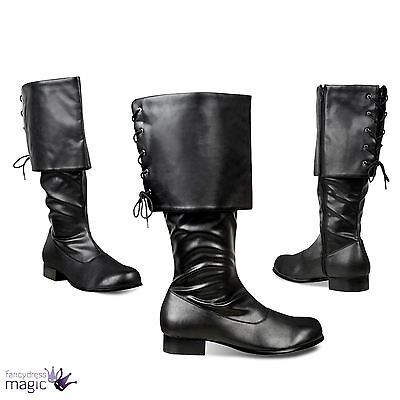 New Black Pirate Adventurer Robin Hood Medieval Santa Fancy Dress Costume Boots