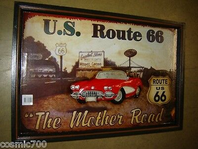 Tabella pub in legno con rilievo Route 66 AUTO AMERICA THE MATHER ROAD