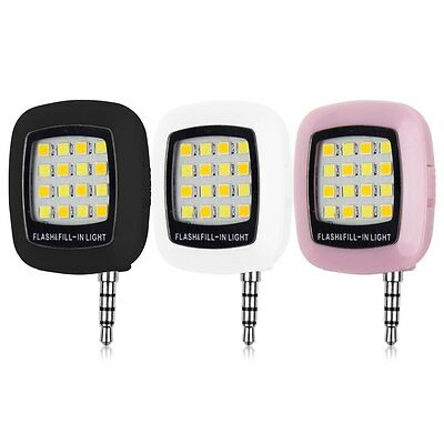 3.5mm Portable Mini 16 LED Flash Fill Light iPhone IOS Android Smartphone galaxy