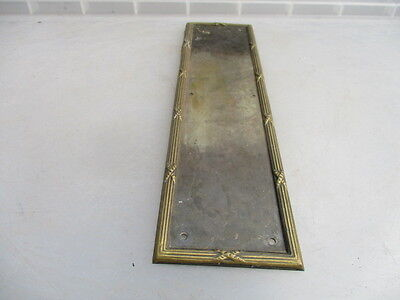 Vintage Finger Plate Push Door Handle Architectural Antique Metal Brass Reeded