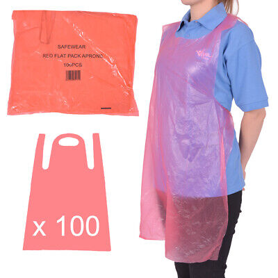 Disposable Aprons Flat Pack (Pack of 100) - RED