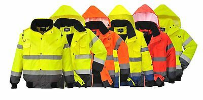 Portwest Padded Contrast Bomber Hi Vis Jacket Zip Out Sleeves Yellow Orange C465