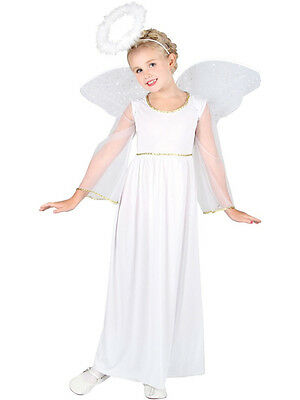 Child 5-7 Years White Angel Party Fancy Dress Costume Christmas Xmas Kids Girls