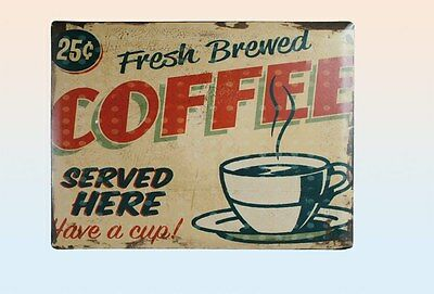 Fresh Brewed Coffee Blechschild XXL Metall Schild 40 x 30 cm Vintage Retro Look