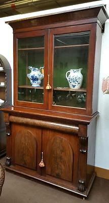 Antique Victorian Glazed Top Large Mahogany Bookcase