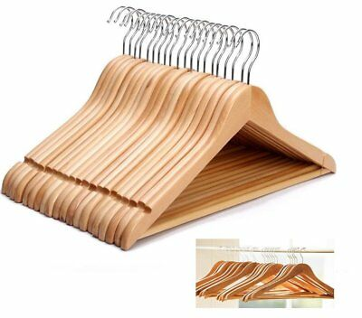 40 x WOODEN COAT HANGERS SUIT GARMENTS CLOTHES WOOD HANGER TROUSER BAR SET